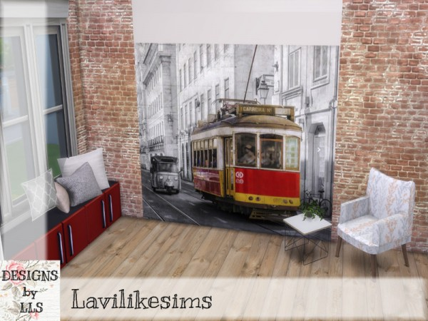 The Sims Resource: Tram Ride   Mural Wall by lavilikesims