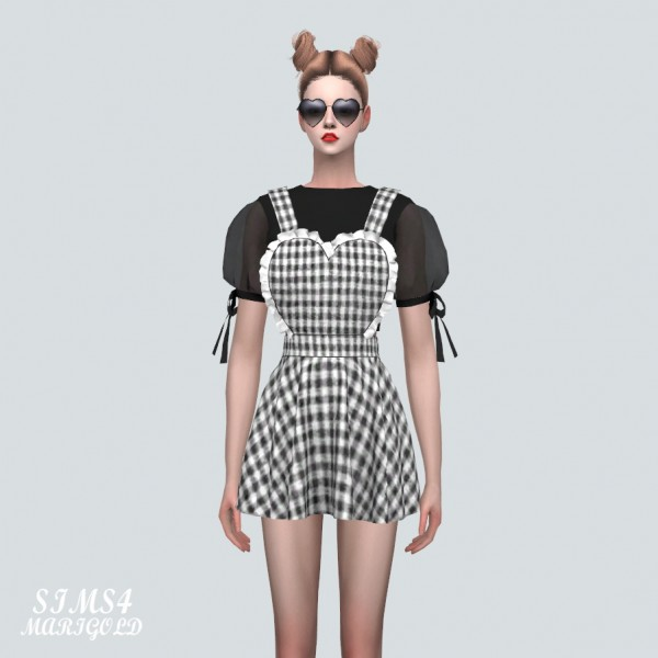 SIMS4 Marigold: Frill Heart Suspender Mini Dress With Puff Top