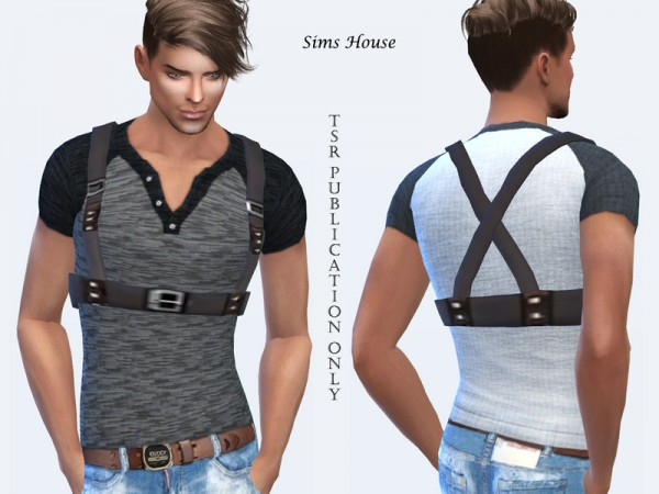 The Sims Resource: Mens T shirt with a leather belt by Sims House