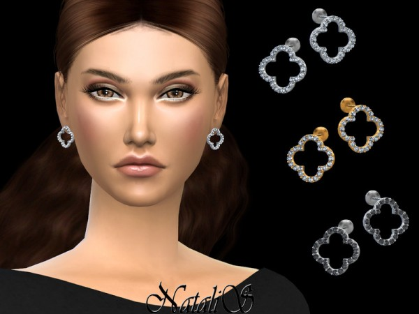 The Sims Resource: Open clover stud earrings by NataliS