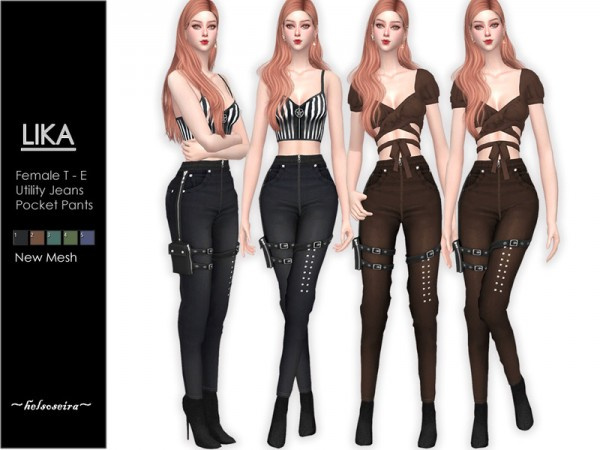 The Sims Resource: LIKA   Utility Jeans by Helsoseira