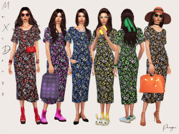 The Sims Resource: Maxi Dress by Paogae