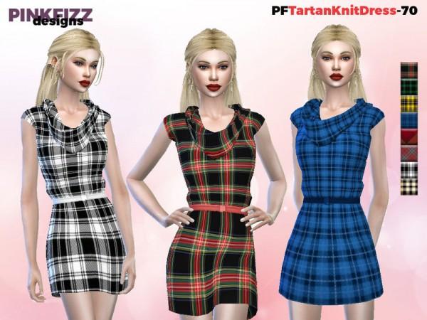 The Sims Resource: Tartan Knit Dress by Pinkfizzzzz