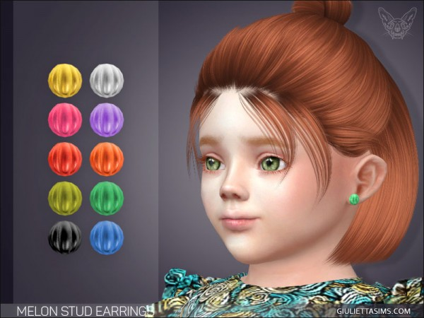 Giulietta Sims: Melon Stud Earrings For Toddlers