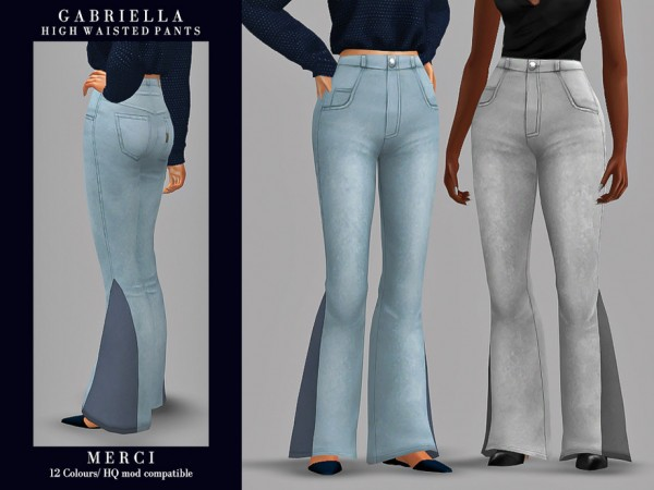 The Sims Resource: Gabriella High Waisted Pants by Merci