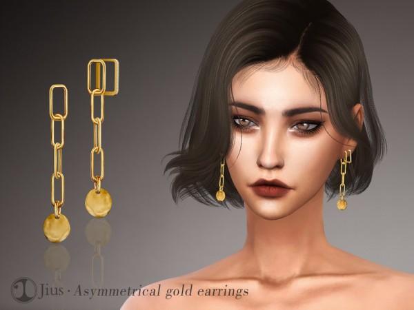 The Sims Resource: Jius Asymmetrical gold earrings 01 by Jius