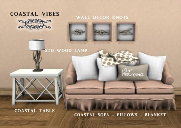 Leo 4 Sims: Coastal Sofa, Pillows and Blanket