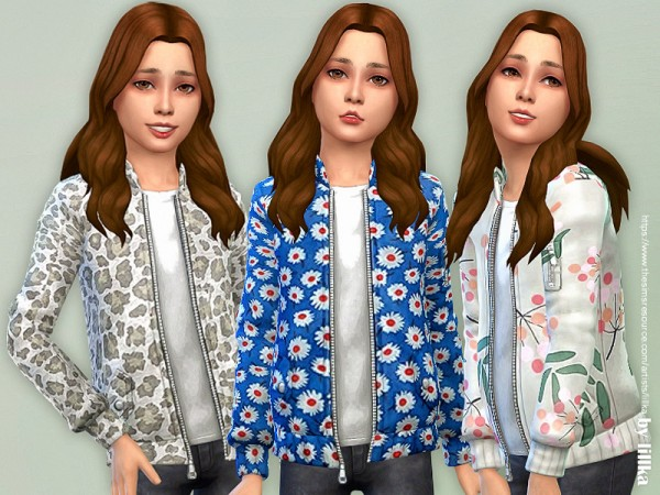 The Sims Resource: Printed Jacket for Girls by lillka