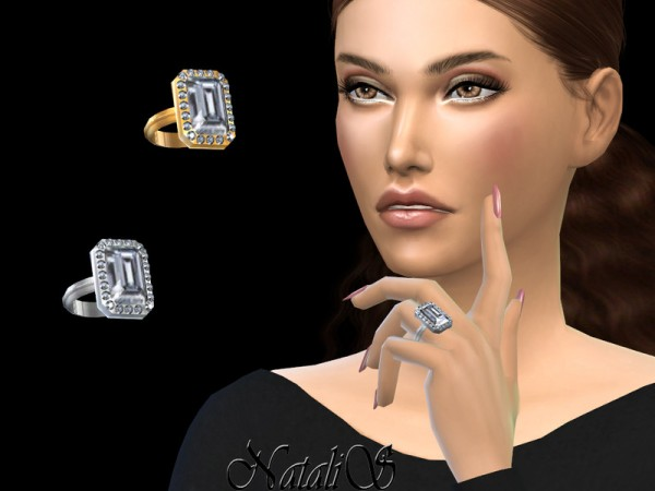 The Sims Resource: Pave emerald cut ring by NataliS