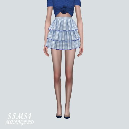 SIMS4 Marigold: T Tiered Mini Skirt