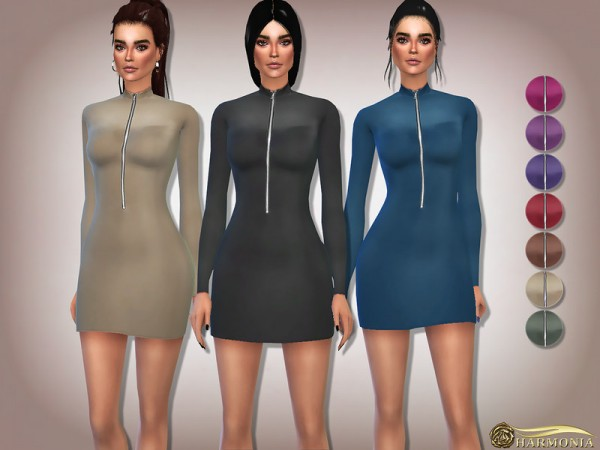 The Sims Resource: Long Sleeve Zip Front Bodycon Dress by Harmonia