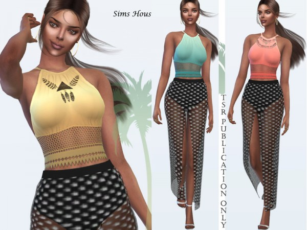 The Sims Resource: Womens Top Sunset in Sulani  by Sims House