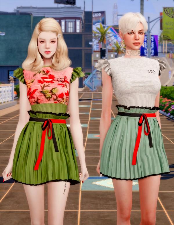 Rimings: Knit Sleveless Top Ribbon Skirt
