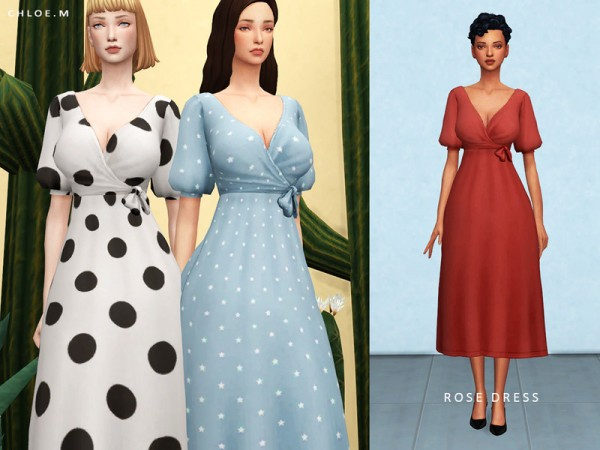 The Sims Resource: Rose Dress by ChloeM