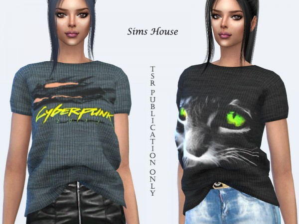 The Sims Resource: Womens t shirt tucked in front with prints by Sims House