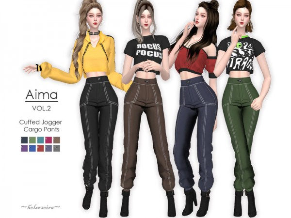 The Sims Resource: Aima Cuffed Cargo Pants by Helsoseira