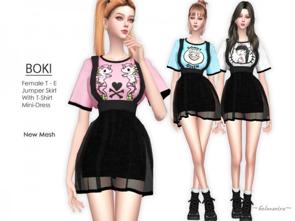 The Sims Resource: BOKI   Mini Dress by Helsoseira