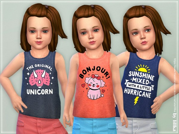 The Sims Resource: Toddler Girl Tank Top 02 by lillka