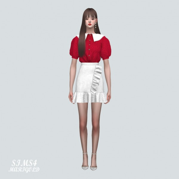 SIMS4 Marigold: ZZ Blouse With Frill Mini Skirt