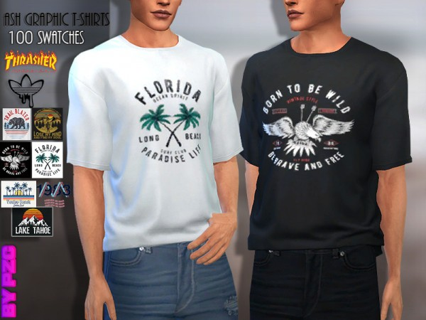 The Sims Resource: Ash Graphic Tees Collection by Pinkzombiecupcakes