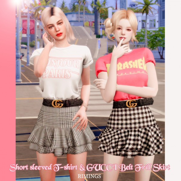Rimings: Short Sleeved T Shirt and Bellt Frill Skirt