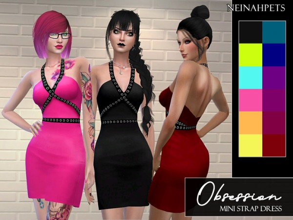 The Sims Resource: Obsession   Mini Strap Dress by neinahpets