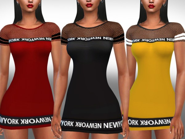 The Sims Resource: Fishnet Detail Short Sleeve Casual Dresses by Saliwa