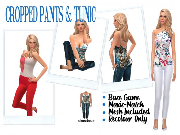 Sims 4 Sue: Cropped Pants and Tunic