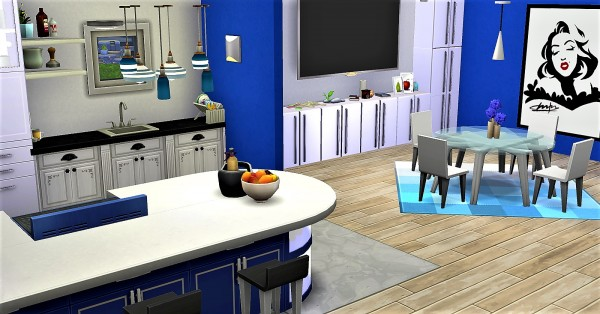 Luniversims: Blue and modern kitchen by  Clara81