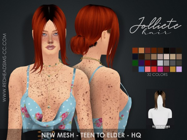 Red Head Sims: Joliette Hairstyle