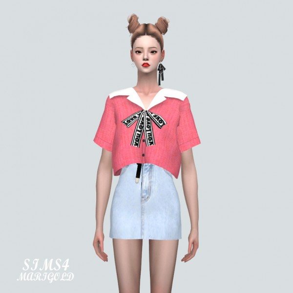 SIMS4 Marigold: Sailor Collar Blouse With Bow
