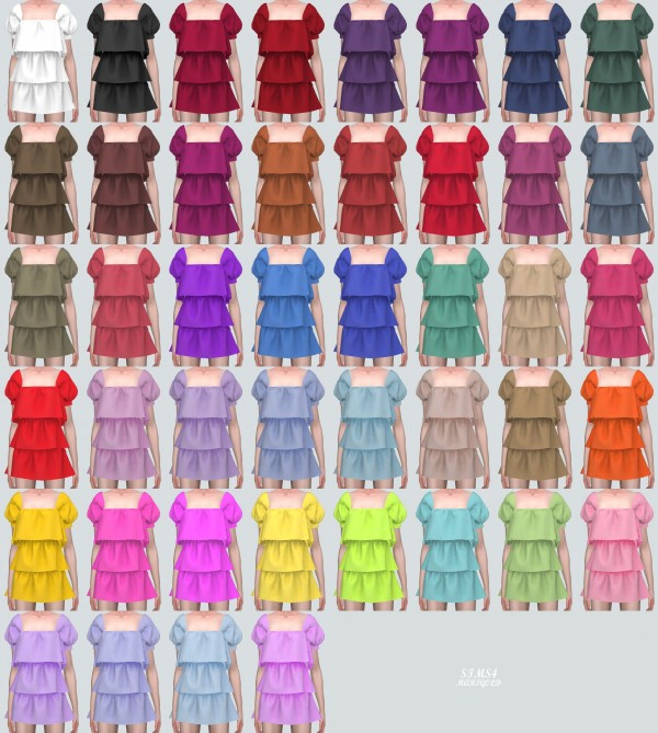 SIMS4 Marigold: Puff Sleeves 3 Tiered Mini Dress