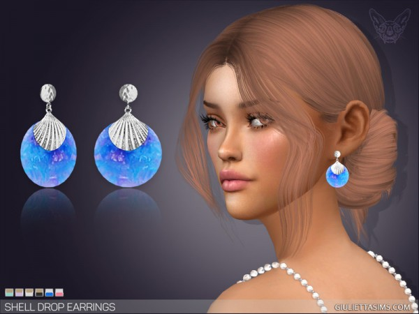 The Sims Resource: Shell Drop Earrings by feyona