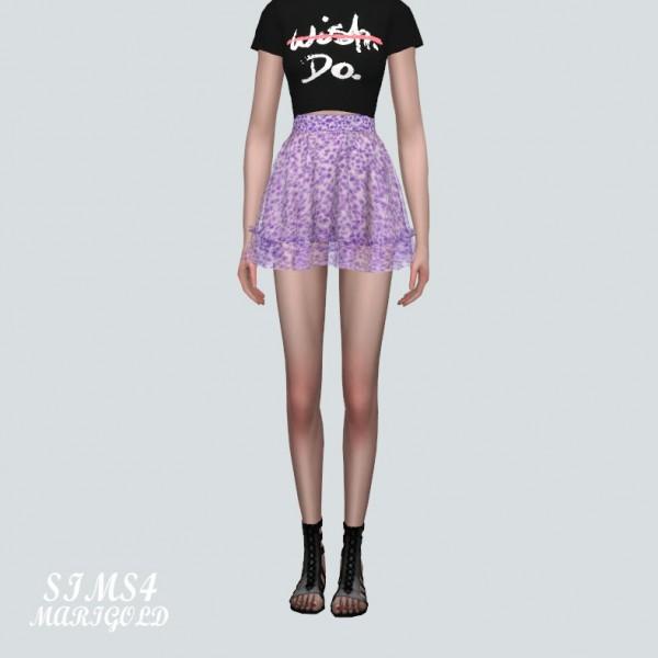 SIMS4 Marigold: Flower Frill Chiffon Mini Skirt