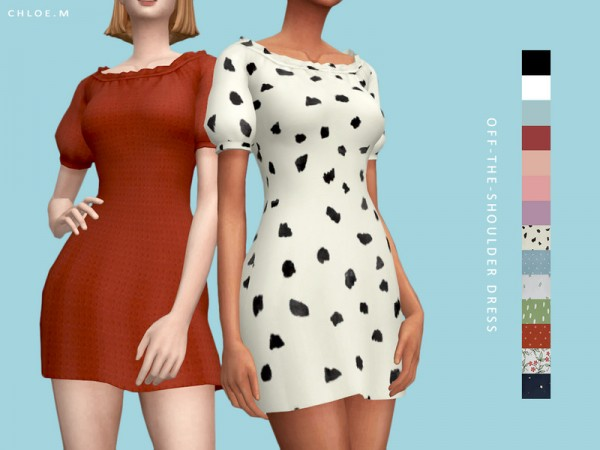 The Sims Resource: Offtheshoulder Dress by ChloeM