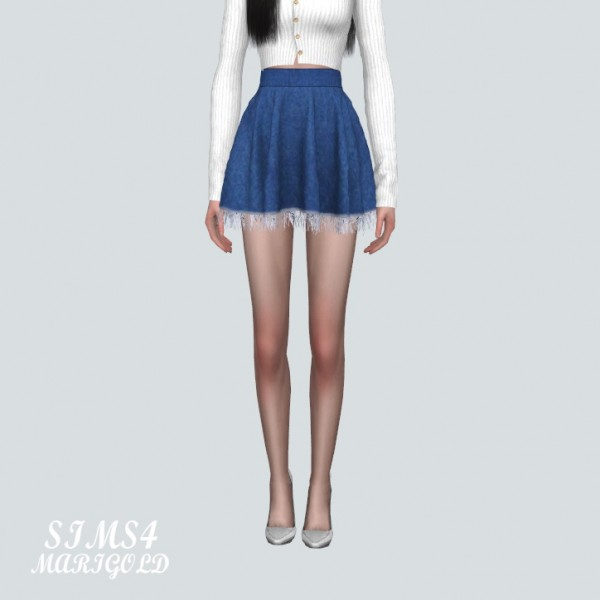 SIMS4 Marigold: Denim Fringe Flare Mini Skirt