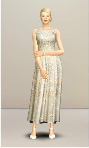 Rusty Nail: Pale Pastel Embroidered Tulle Gown