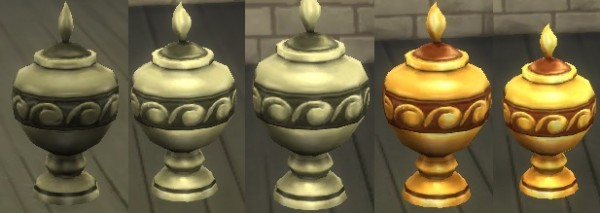 Mod The Sims: Silver and Gold Recolours for the Base Urn by SweeneyTodd