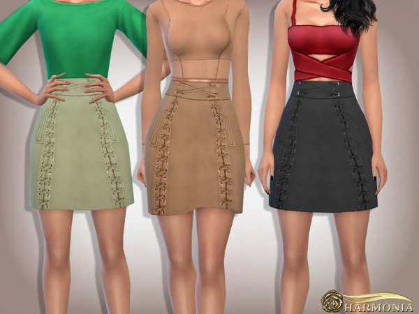 The Sims Resource: Suede Lace Up Flare Mini Skirt by Harmonia