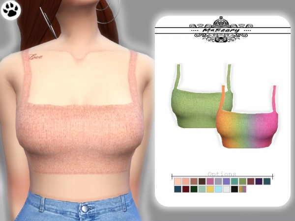 The Sims Resource: Cropped Sweater Tank Top by MsBeary