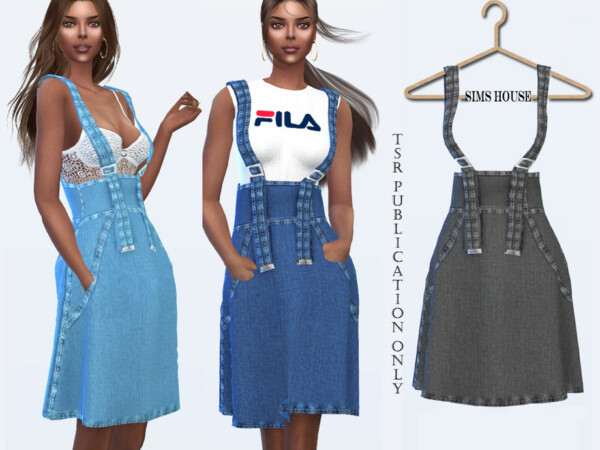 The Sims Resource: Denim Skirt with Spaghetti Straps by Sims House