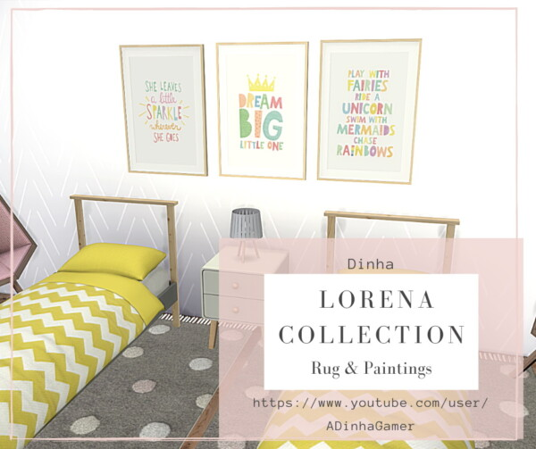 Dinha Gamer: Lorena Collection Rug and Paintings