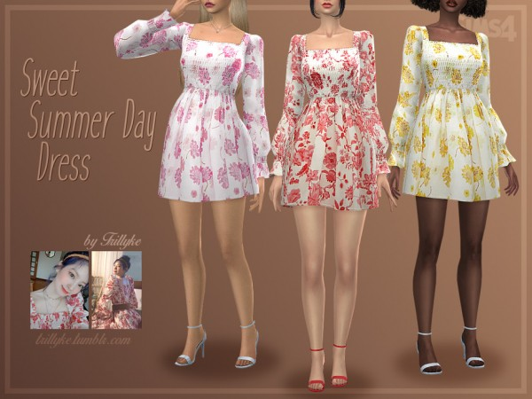 The Sims Resource: Sweet Summer Day Dress by Trillyke