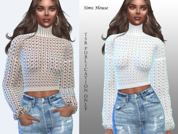 The Sims Resource: Womens sweater with a collar and wide sleeves by Sims House