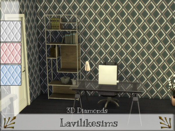 The Sims Resource: 3D Diamonds Walls by lavilikesims