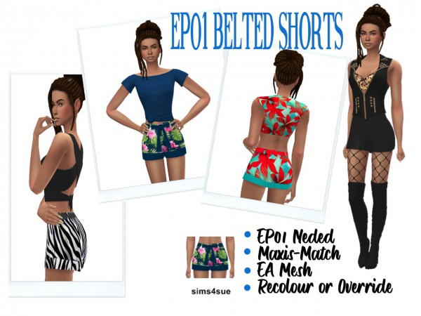 Sims 4 Sue: Belted shorts 01
