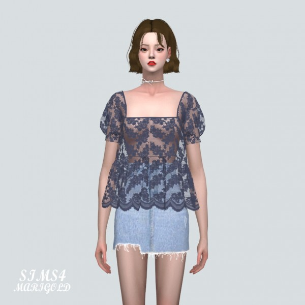 SIMS4 Marigold: See through Lace Blouse V2