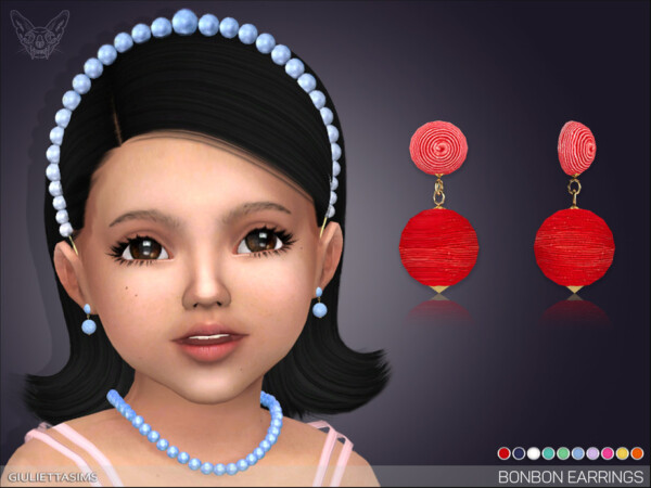 The Sims Resource: Bonbon Earrings For Toddlers by feyona
