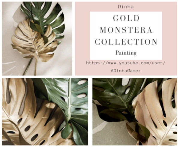 Dinha Gamer: Gold Monstera Collection: Painting and Rug