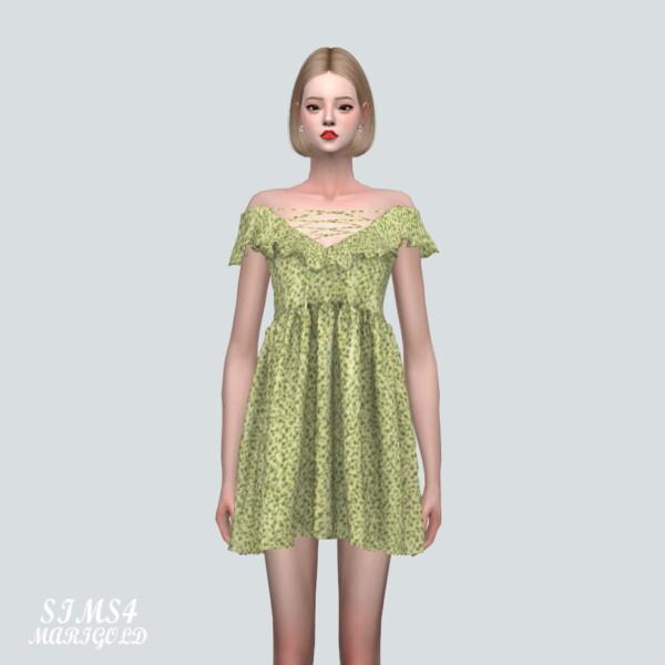 SIMS4 Marigold: WWW Off Shoulder Frill Mini Dress WWW